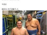【大相撲】豊ノ島、巡業中…横綱・白鵬と笑顔のツーショット写真公開 画像